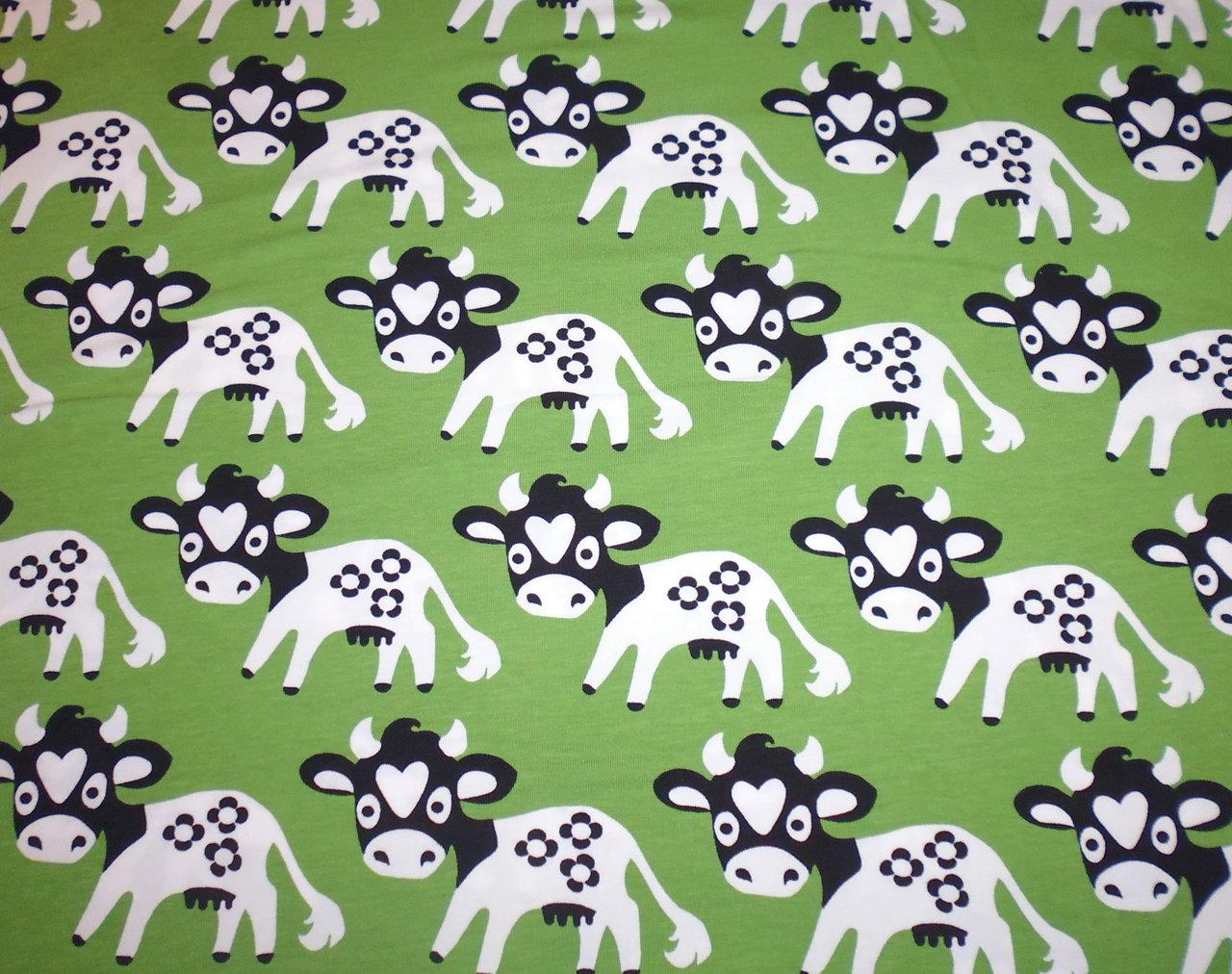 Skandinavische stoffe  Rest: 1m Zuschnitt - Skandinavischer Jersey - Lempi the Cow - Kühe ...