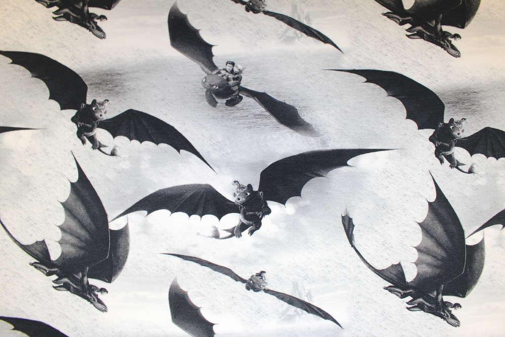 Rest 1 m Stücke - Digitaldruck Jersey - schwarzer Drache - Drachen ...